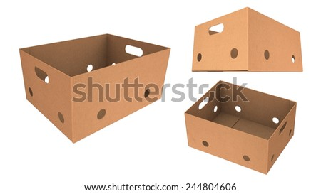 Brown carton box for vegetables, fruit, and things. isolated on white background. - stock photo