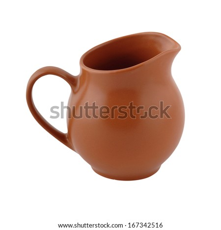 Brown ceramic jug for water on a white background - stock photo