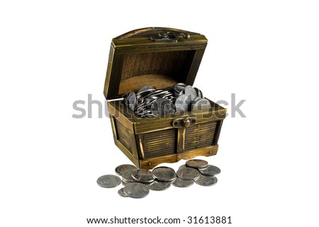 Brown chest with coins on white background