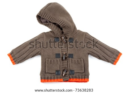 Brown Children's knitted sweater with oranfevymi stripes on a white background - stock photo