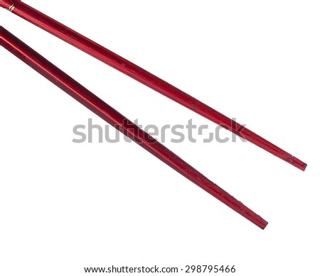 Brown chopsticks isolated on white background