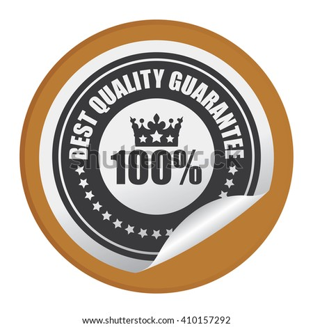 Brown Circle 100% Best Quality Guarantee - Product Label, Campaign Promotion Infographics Flat Icon, Peeling Sticker, Sign Isolated on White Background  - stock photo