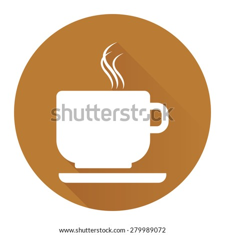 Brown Circle Coffee Cup or Coffee Shop Long Shadow Style Icon, Label, Sticker, Sign or Banner Isolated on White Background - stock photo
