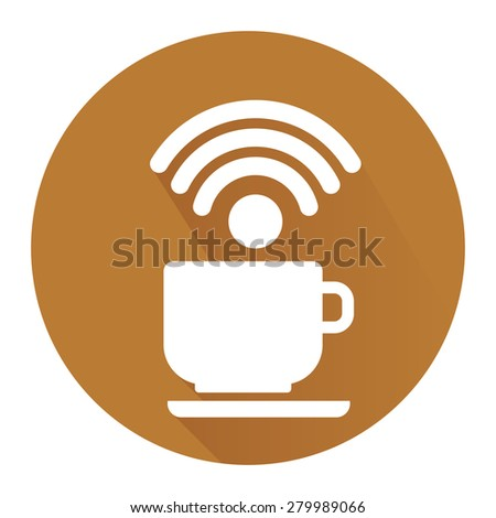 Brown Circle Coffee Shop, Coffee Cup With Wifi Flat Long Shadow Style Icon, Label, Sticker, Sign or Banner Isolated on White Background - stock photo