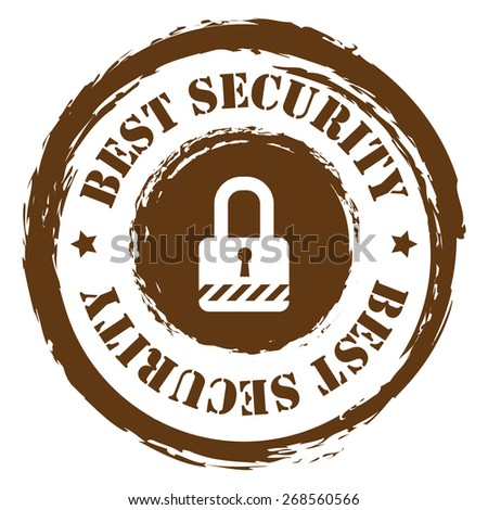 Brown Circle Grungy Best Security Stamp, Sticker, Icon or Label Isolated on White Background  - stock photo