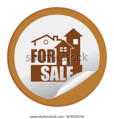 Brown Circle Home or Office For Sale Product Label, Infographics Flat Icon, Peeling Sticker, Sign Isolated on White Background  - stock photo