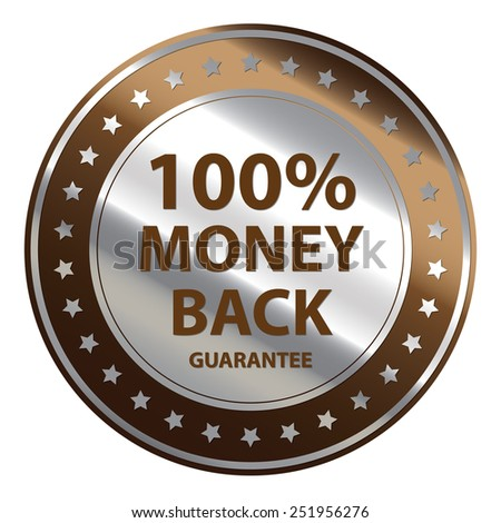 Brown Circle Metallic 100% Money Back Guarantee Icon,Tag, Sticker or Label Isolated on White Background  - stock photo