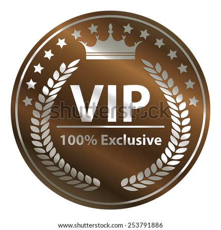 brown circle metallic vip 100% exclusive badge, sticker, banner, sign, icon, label isolated on white - stock photo