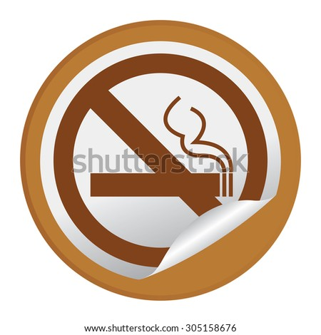 Brown Circle No Smoking Prohibited Sign Infographics , Sticker, Icon or Label Isolated on White Background  - stock photo