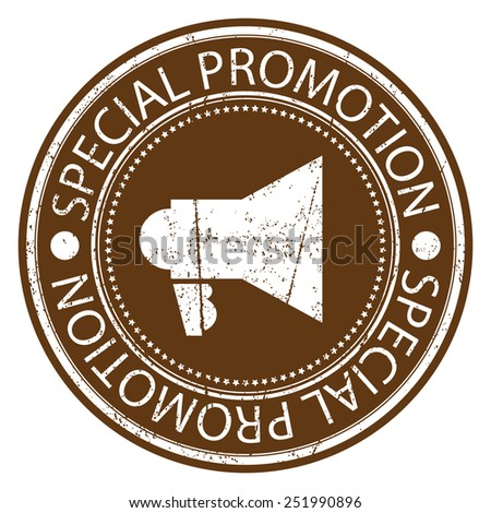 Brown Circle Special Promotion Grunge Sticker, Rubber Stamp, Icon, Tag or Label Isolated on White Background - stock photo