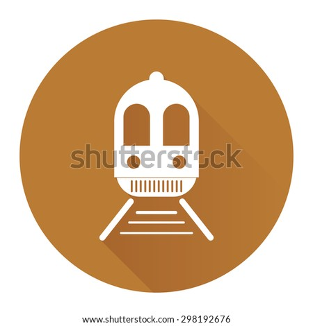 Brown Circle Train, Subway Station or Railway Station Flat Long Shadow Style Icon, Label, Sticker, Sign or Banner Isolated on White Background - stock photo