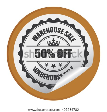 Brown Circle Warehouse Sale 50% Off Product Label, Campaign Promotion Infographics Flat Icon, Peeling Sticker, Sign Isolated on White Background  - stock photo