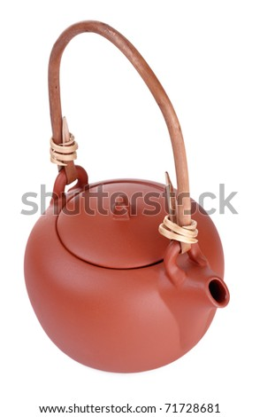 brown clay kettle isolated on white background - stock photo