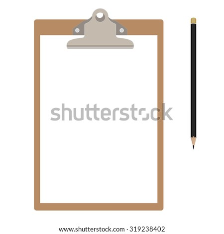 Brown clipboard with white, empty paper and pencil. Clipboard icon