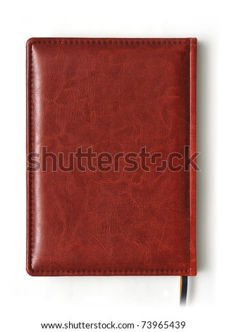 Brown closed business book isolated over white background