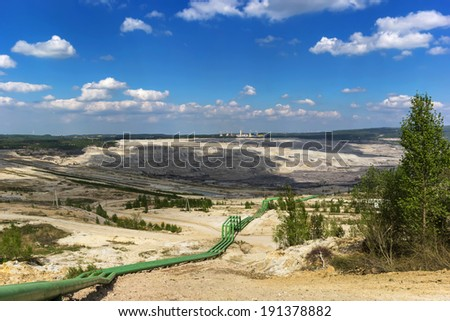 Brown coal open pit mine in Poland - stock photo