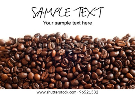 Brown coffee beans, background with text - stock photo
