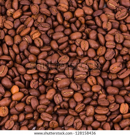 Brown coffee beans, close-up of coffee beans for background and texture - stock photo