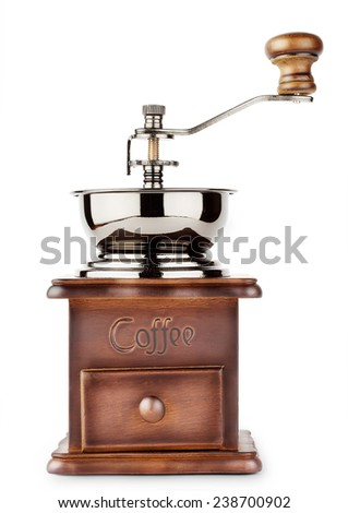 Brown coffee grinder isolated on white background