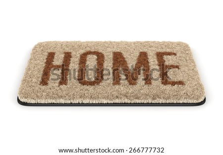 Brown coir doormat with text Home isolated on white background - stock photo