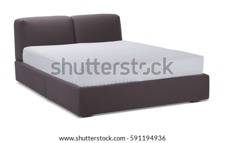 brown color double bed with mattress modern designer bed bedroom isolated on white background