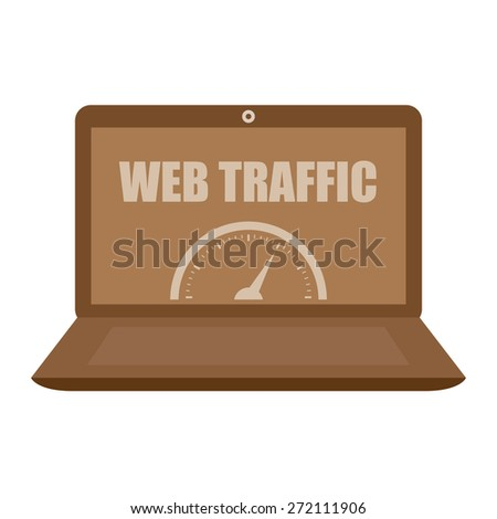 Brown Computer Laptop With Web Traffic Label, Sign or Icon Isolated on White Background - stock photo