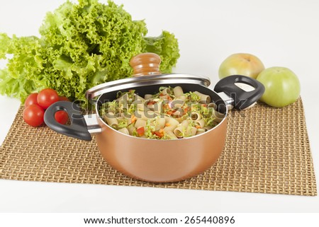 brown cooking pot on white background - stock photo