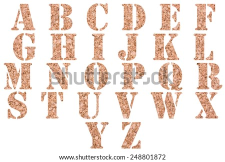 Brown cork alphabet isolated on a white background - stock photo