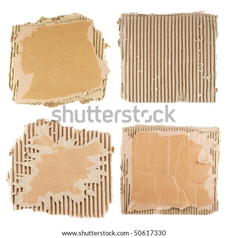Brown corrugated cardboard sheet background - stock photo