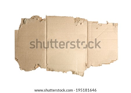 Brown corrugated cardboard torn isolated on white. - stock photo