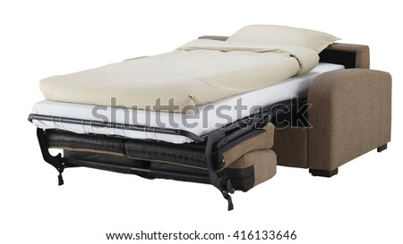 Brown couch bed isolated on white include clipping path - stock photo