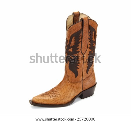 brown cowboy boot isolated at white background - stock photo
