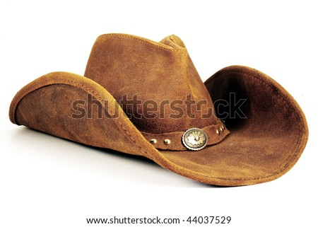 Brown Cowboy Hat - stock photo