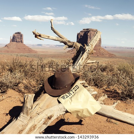 Brown cowboy hat in front of Monument Valley, USA - stock photo