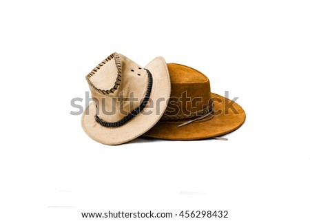 Brown cowboy hat - with white background - copy space - isolated - stock photo