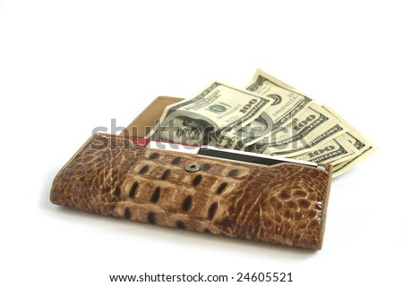 Brown croco  leather wallet full of dollars isolates on white - stock photo