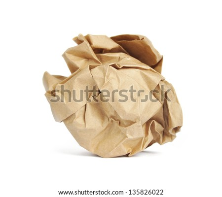 Brown Crumpled Paper Ball  isolated on white background - stock photo