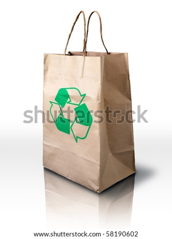 Brown Crumpled recycle paper Bag on white reflect floor - stock photo