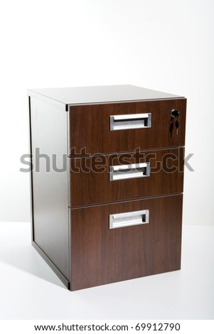 Brown cupboard on white