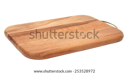 Brown cutting board isolated on white background