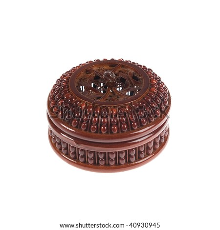 Brown decorative box isolated over white background - stock photo