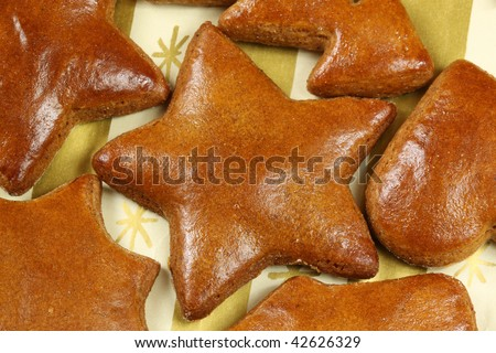 Brown delicious Christmas gingerbread cookies - fresh baked traditional spicy sweets - stock photo
