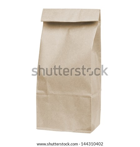 brown disposable paper bag isolated on white background - stock photo