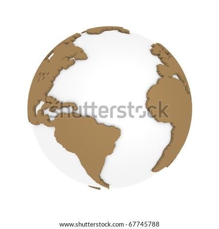 Brown earth three dimensional - stock photo