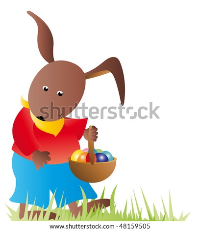 brown easter bunny with bucket and easter eggs walking over meadow
