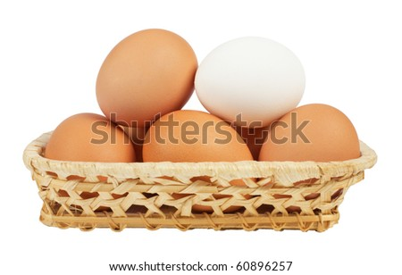 Brown eggs in the basket,isolated on white with clipping path - stock photo