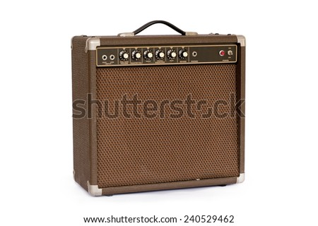Brown electric guitar amplifier isolated on white background - stock photo