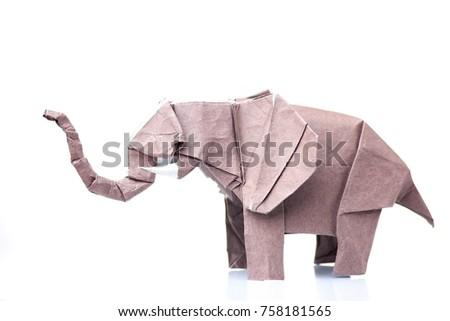 Brown Elephant Origami Figurine Paper Design Stock Photo 758181565