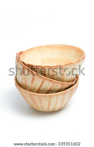 Brown empty bowls isolate on white background - stock photo