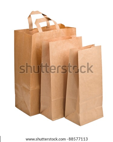 Brown empty Paper Bags, isolated on white background - stock photo